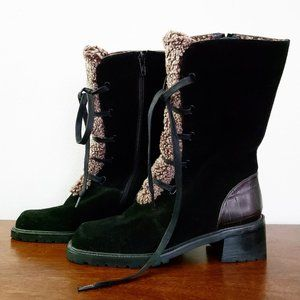 Stuart Weitzman Black Shearling Lined Winter Boots